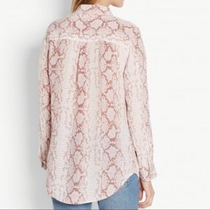 Equipment Sheer Snake-Print Silk Shirt